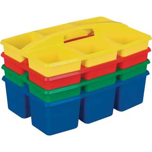 "Six Equal Compartment Caddies Set of 4 - Assorted Rainbow – Equal-Sized Compartments Perfect to Color-Code Tables or Group Work – Built-in Handles – Stackable for Easy Storage, Size: 9¼""W x 9¼""D x 3¾""H."
