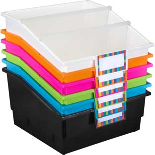 Picture Book Library Bins with Dividers, Set of 6, Neon, Customizable, Keep Books from Slipping, Protective Cover, Great For In Your Home or Classroom