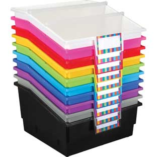 Picture Book Library Bins With Dividers - 12-Pack Rainbow