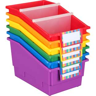 Large Plastic Labeled Book and Organizer Bin for Classroom or Home Use – Sturdy Plastic Book Bins in Fun Assorted Colors – Set of 6