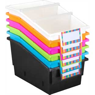 Large Plastic Labeled Book and Organizer Bin for Classroom or Home Use – Sturdy Plastic Book Bins in Fun Neon Colors – Set of 6
