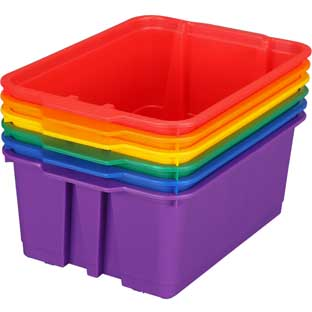 Group Colors For 6 - Classroom Stacking Bins - 6 bins