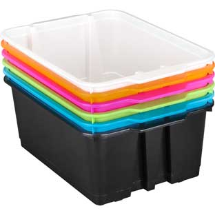 Stackable Plastic Book and Organizer Bins for Classroom or Home Use – Sturdy Plastic Baskets in Fun Neon Colors Set of 6