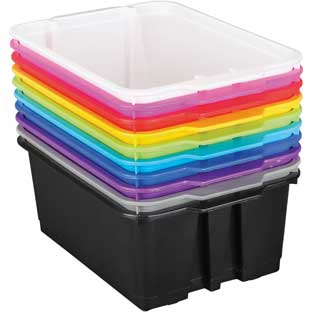 Classroom Stacking Bins - 12-Pack Rainbow