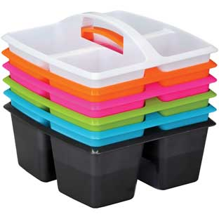 Four-Equal-Compartment Caddies - Neon Pop - Set Of 6