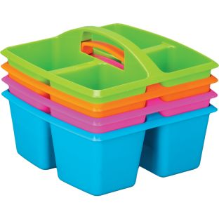 4-Compartment Caddies –Set of 4, Neon Colors, Equal-Sized Compartments – Perfect for Color-Coding Tables or Group Work – Built-in Handles – Also great for home organization - Stackable for Easy Storage