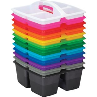 Four-Equal-Compartment Caddies - Rainbow - Set Of 12