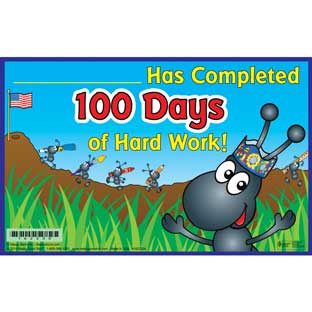100th Day Hard Worker Certificates