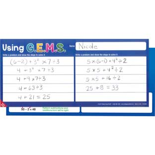 GEMS Order Of Operations Write Again® Mats - 6 activity mats