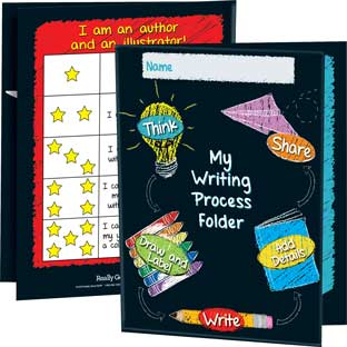 Early Writing Process Tri-Fold 3-Pocket Folders - 12 folders
