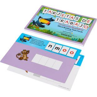 Tarjetas de trabajo: Construcción de palabras (Spanish Word Building Task Cards) - 21 cards