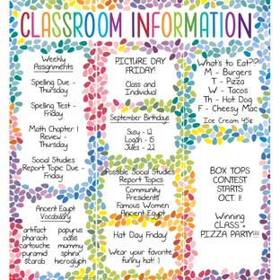 Classroom Information Center Jumbo Poster - 3 banners