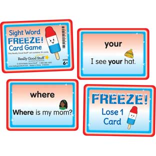 Sight Word FREEZE! Card Game - 56 cards