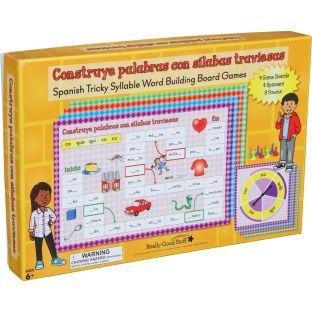 Juegos de mesa: Construye palabras con sílabas traviesas (Spanish Tricky Syllable Word Building Board Games)