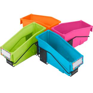 Multi-Directional 4-Bin Wire Rack With Bins - Neon Colors - 1 rack, 4 bins