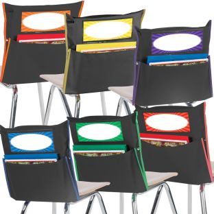 Store More® Black Grouping Chair Pockets - 6-Color Piping - Set Of 12