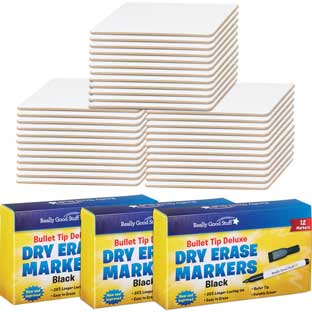 "9"" X 6"" Mini Magnetic Dry Erase Boards With Markers - Set Of 36"