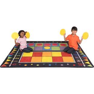 Double Ten Frame Classroom Rug With Number Line And Counters - 1 rug, 20 counters