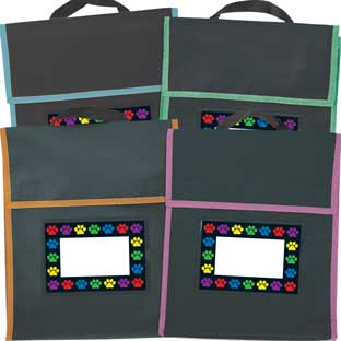 Paw Prints Book Pouches And Labels - Black With Neon Trim - Set Of 12