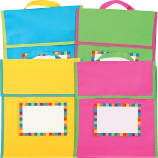 Store More® Medium Book Pouches And Labels - Neon Colors - Set Of 12