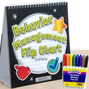 Behavior Management Flip Chart With Rainbow Markers - Primary - 1 flip chart, 8 markers