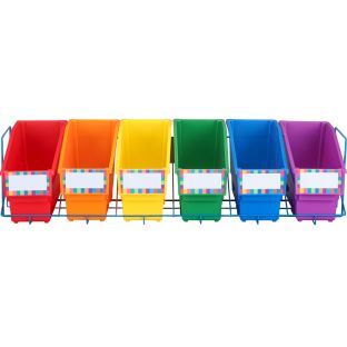 Durable Book And Binder Holders With Stabilizer Wing And Storage Rack - 6 Colors