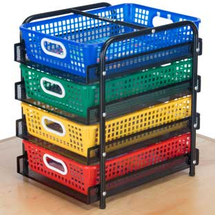 Desktop Supplies Station With Paper Baskets - 1 organizer, 4 baskets