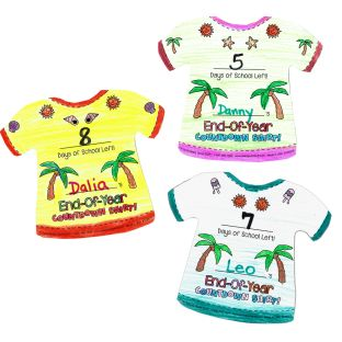 Ready-To-Decorate® End-Of-Year Countdown 'T-Shirts' - 32 paper T-shirts