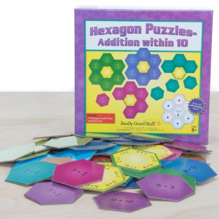 Hexagon Puzzles - Addition Within 10 - 10 puzzles