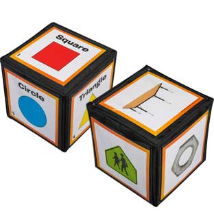 "2- And 3-Dimensional Shapes Cards And 6"" Cubes"