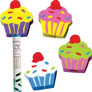 Cupcake Birthday Pencils And Erasers Kit - 12 pencils