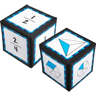 "Intermediate Fractions Cards And 6"" Cubes - 2 cubes, 42 cards"