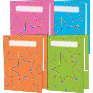 Neon Pop 2-Pocket Folders - Set Of 12 - 4 Colors
