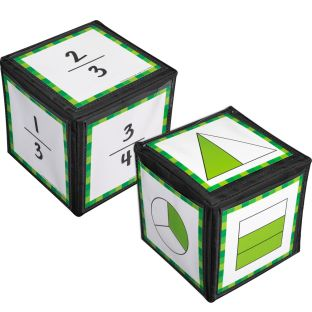 "Primary Fraction Cards And 6"" Cubes"