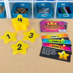 Carpet Mark-Its  Move And Groove! Numbers Through 25 Task Cards Kit - 26 carpet spots, 20 task cards
