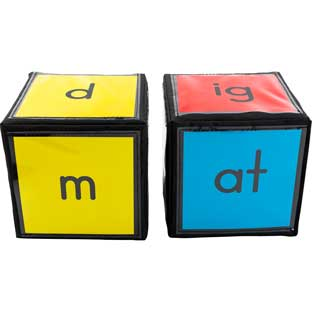 "CVC and CVCC Word Building Cards And 6"" Cubes"