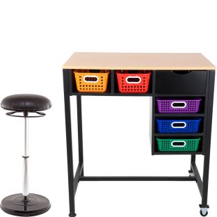 Standing Workstation With Teacher Kore Chair And Multicolor Baskets