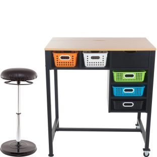 Standing Workstation With Teacher Kore Chair And Neon Pop Baskets