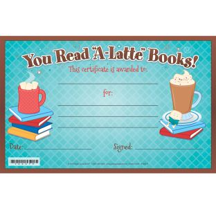 Warm Up To A Good Book You Read 'A-Latte' Certificates - 36 certificates
