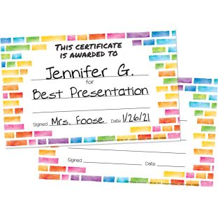 Rainbow Building Blocks Certificates  24 Pack