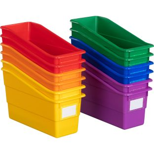 Fizz! Durable Book And Binder Bins - 12 bins, 36 labels