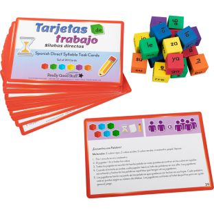 Spanish Syllable Dice And Task Cards (Juego de Cubos y Tarjetas de trabajo con sílabas directas) - 20 cards, 18 dice