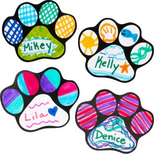 Ready-To-Decorate® Student Name Paw-Print Magnets - 32 magnets