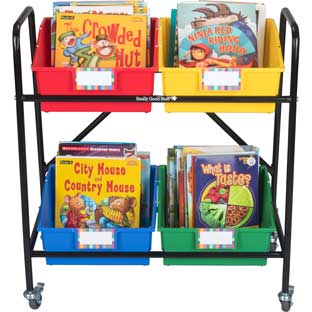 Mid-Size Mobile Storage Rack With 4 Picture Book Bins™ - Grouping - 1 rack, 4 bins