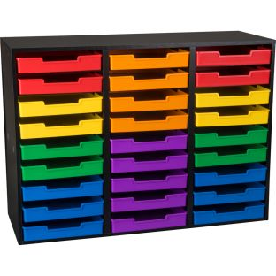 Black 27-Slot Mail Center With Trays - 6-Color Grouping