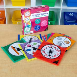 Spinner Sleeves With Primary Math Cards - 4 sleeves, 40 cards