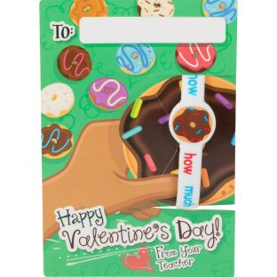 Donuts Valentine's Day Cards And Bracelets - 24 cards, 24 bracelets