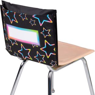 Store More® Deep-Pocket Chair Pockets – Black With Neon Pop Stars – 6-Pack