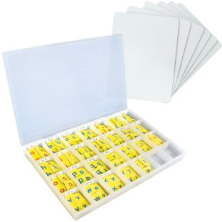 Two-Sided Magnetic Dry Erase Boards With Foam Letter Tiles - 6-Student Pack