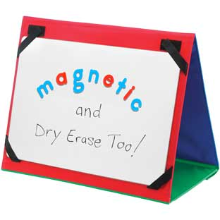 "Write Again® 18"" X 12"" Magnetic Dry Erase Board, Magnetic Letters, And Desktop Stand - 1 stand, 1 board, 137 letters"